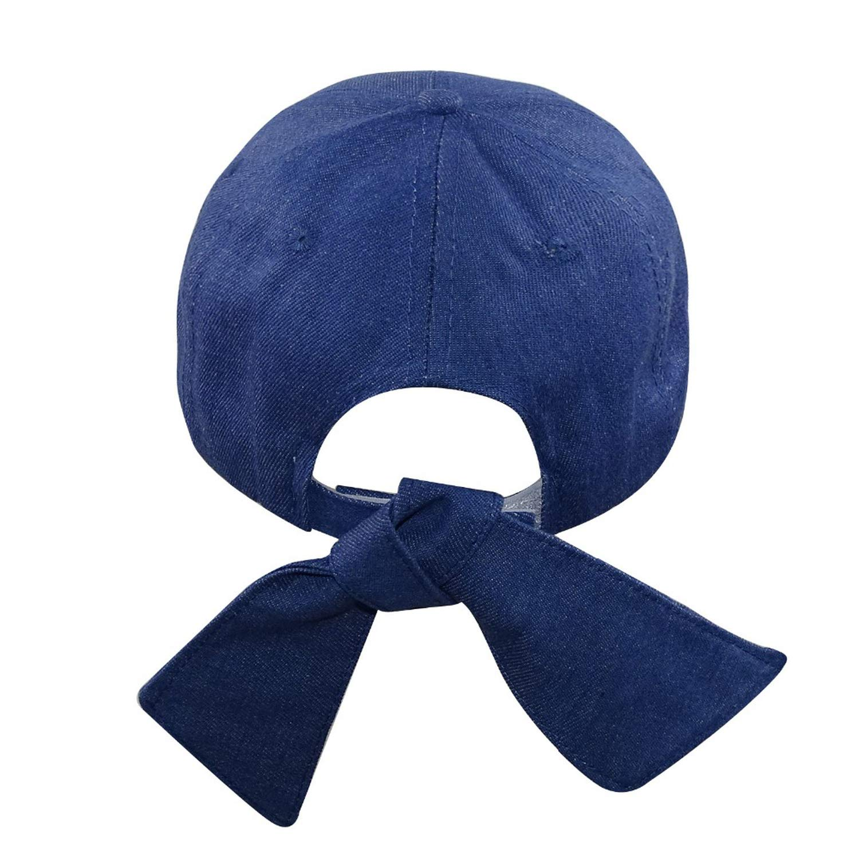 Back Strap Bow Women Denim Baseball Cap Hat Harajuku Bow Baseball Cap Ajustable Cute Sun Hat