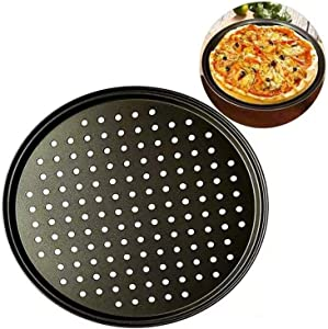 Pizza Pans Round Pizza board With Holes 12.5 inch Carbon Steel Pizza Baking Pan Non-Stick Cake Pizza Crisper Tray Tool Stand for Home Kitchen Oven Dishwasher Restaurant Hotel Handmade Pizza Bakeware