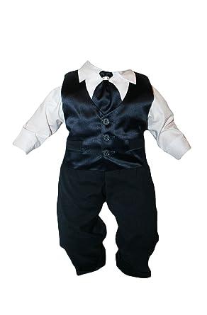 Unbekannt Taufanzug Baby Junge Kinder Kind Taufe Anzug Hochzeit Anzüge Festanzug 4tlg Marineblau Weiß K15