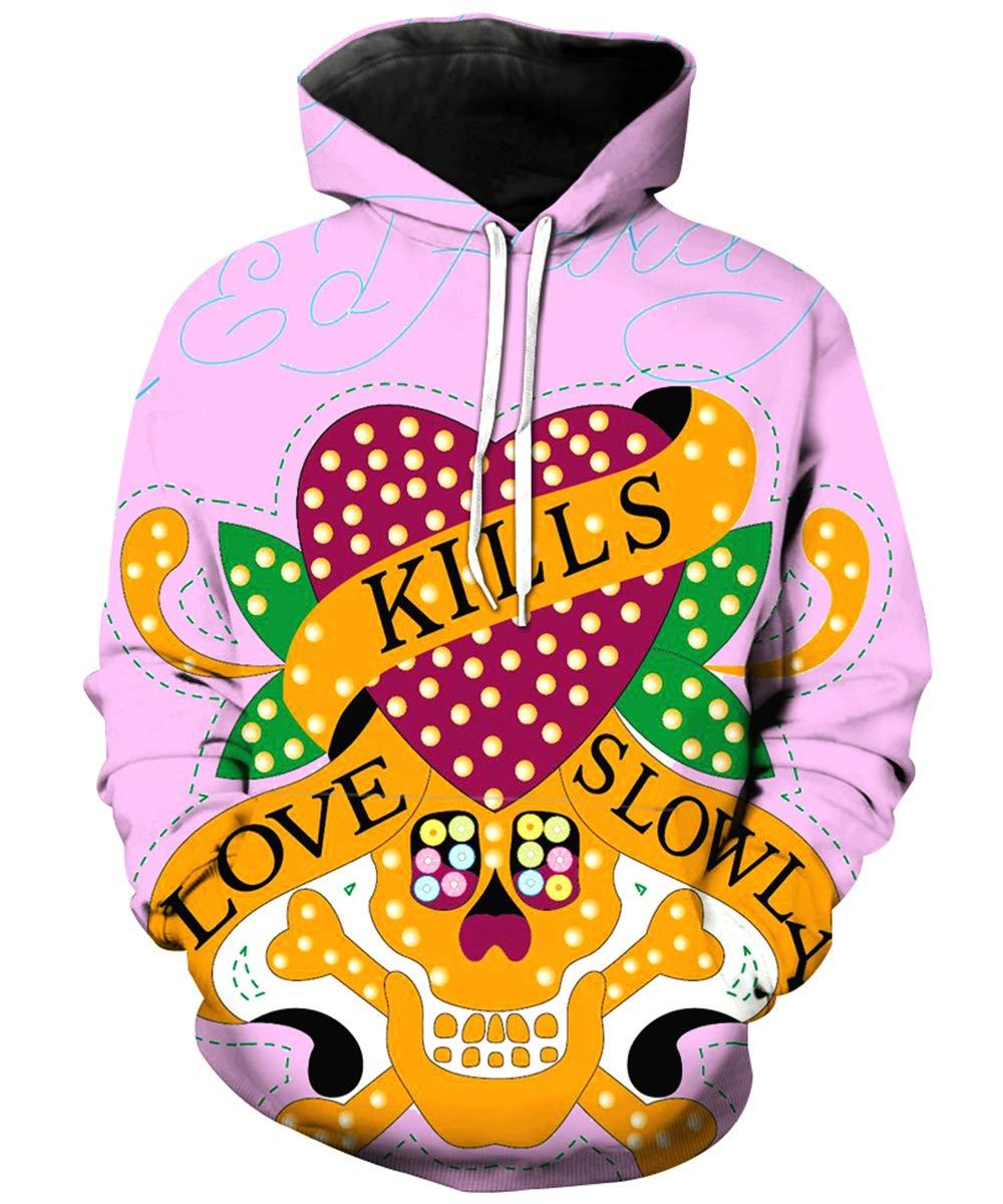 EnlaMorea Boys Girls Hooded Tops Pullover Skull Print Halloween Outfits,Love Kills,5-6 Years