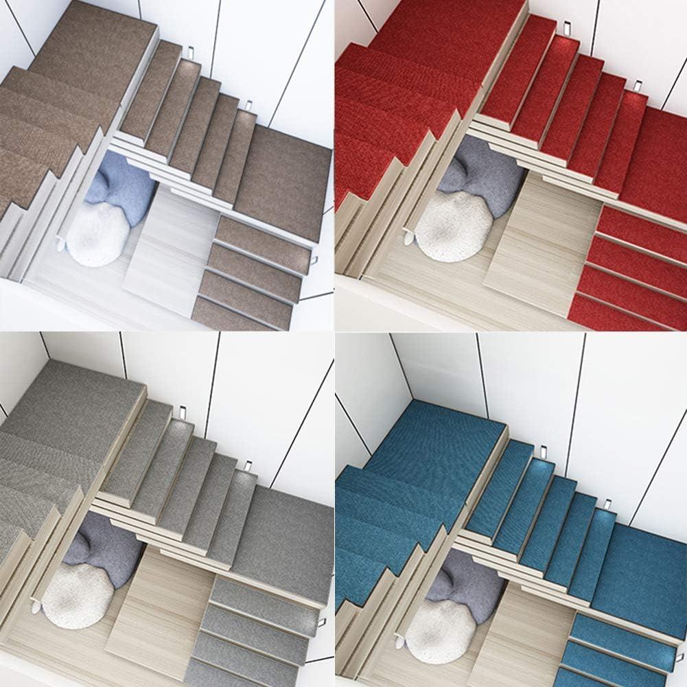 SF-ICZY - Alfombrilla antideslizante para escaleras, diseño de escalera (3 unidades, 30 x 120 cm), color rojo: Amazon.es: Hogar