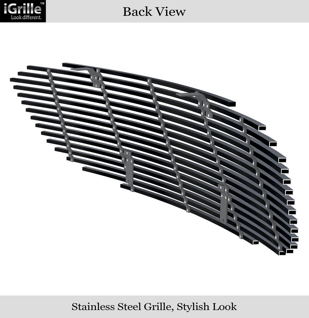 APS Compatible with 2006-2009 Buick Lucerne Main Upper Stainless Steel Black Horizontal Billet Grille Insert S18-J09468S