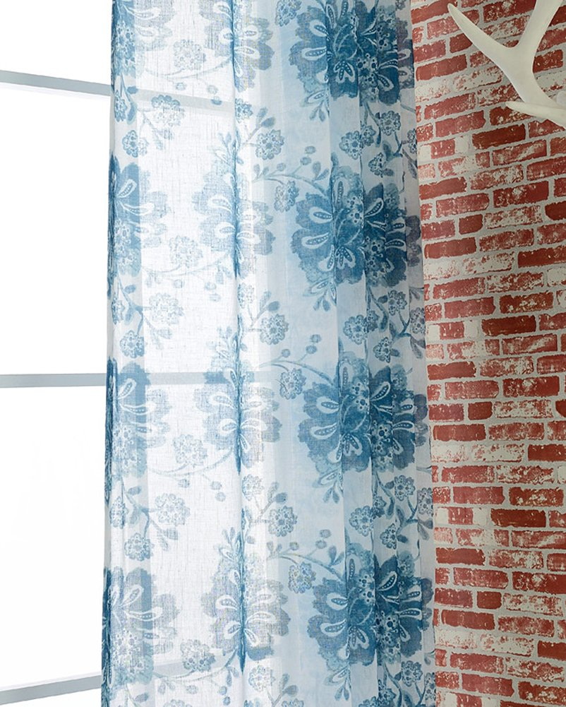 ASide BSide Sheer Curtains Garden Style Rod Pockets Voile Drapes Blossom Printed Home Decorations For Living Room Dining Room and Kids Room (1 Panel, W 52 x L 95 inch, Blue)