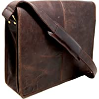"18"" Buffalo Leather Messenger Bag Laptop case Office Briefcase Gift for Men Computer Distressed Shoulder Bag"