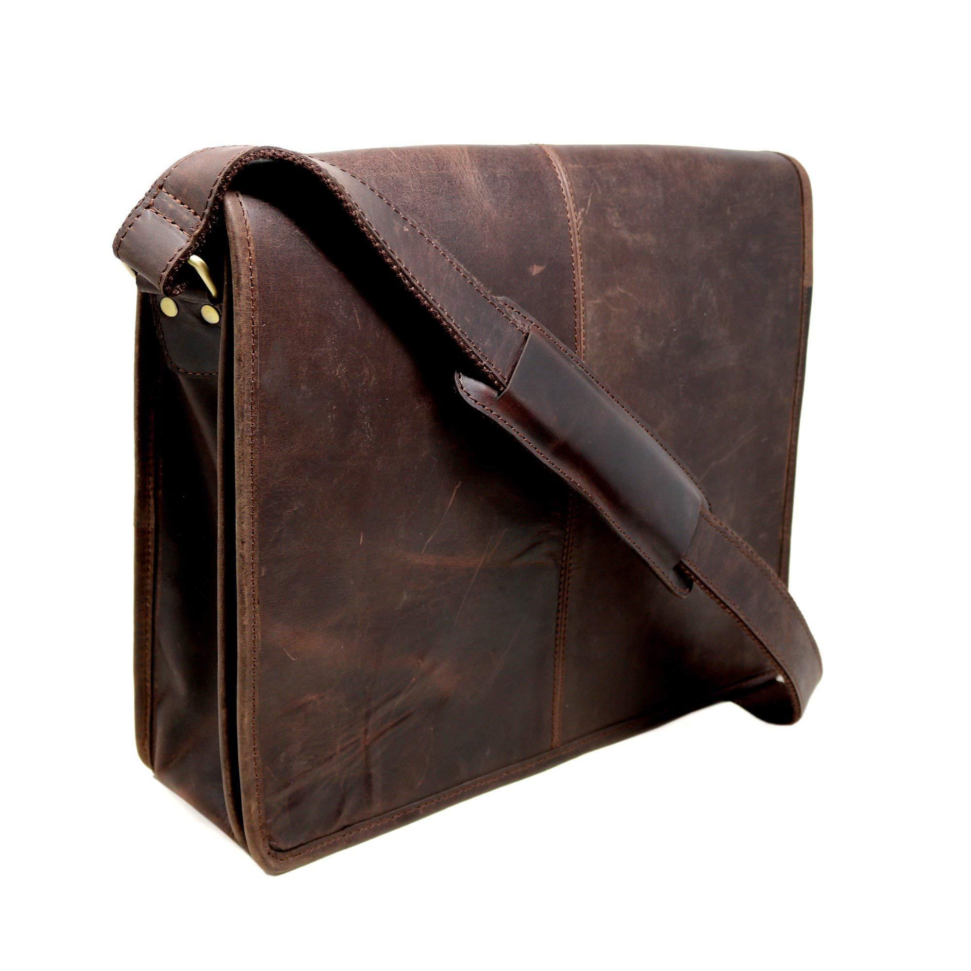 18'' Mens Briefcase for Laptop Genuine Leather Messenger Bag for Men Satchel Distressed Stylish Professional Shoulder Bag