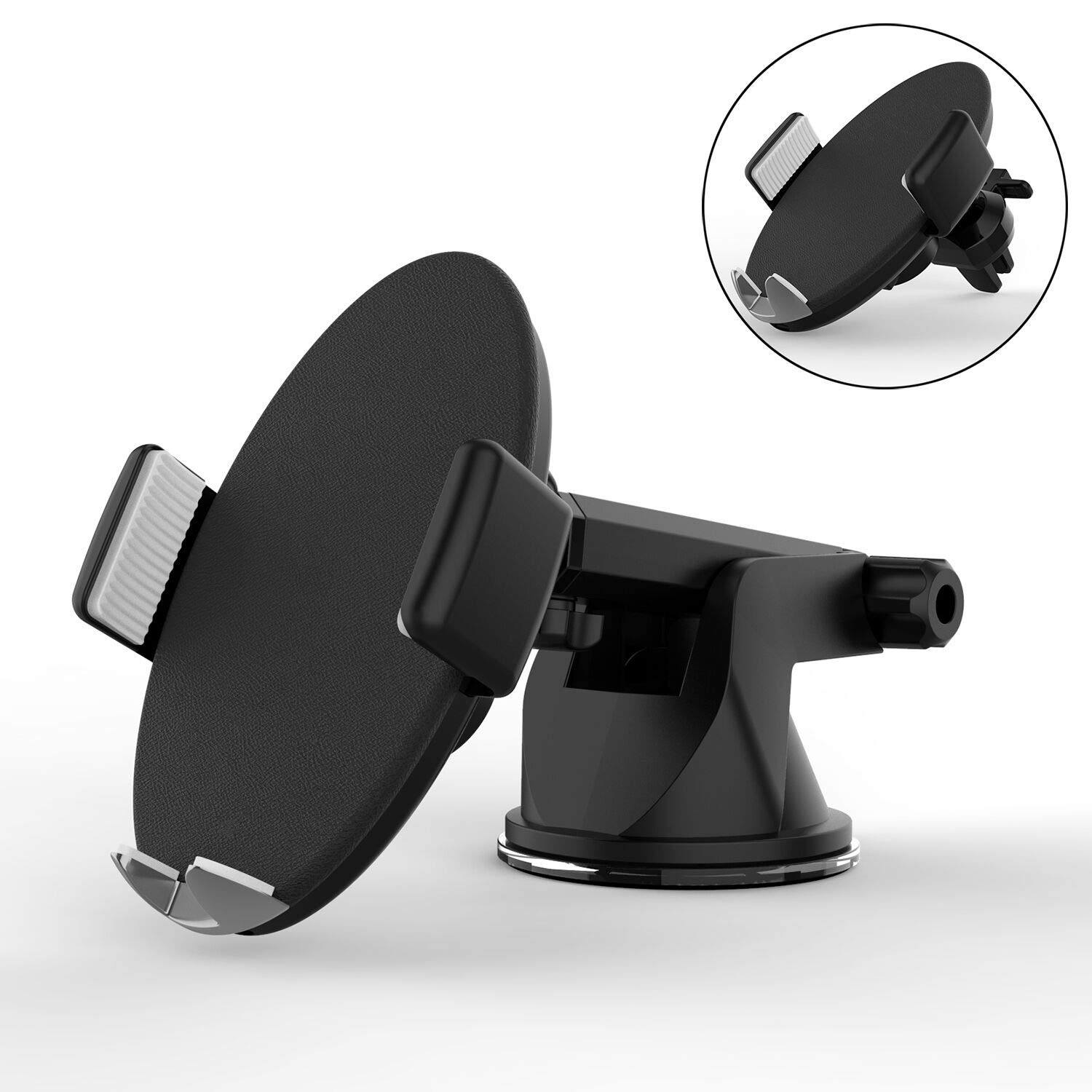 Wireless Car Charger,Touch Sensitive Automatic Qi Wireless Charger Car Mount with 360° Air Vent Leather Pad 10W Fast Charging Holder Compatible with iPhone X XR 8,Samsung Galaxy S9 S8 Note 8 and More
