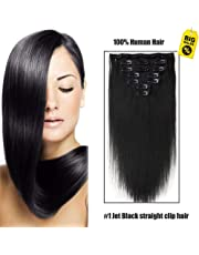 SHOWJARLLY Straight Remy Clip in Human Hair 7pcs/set Full Head Clip in Hair Extensions 70g-120g 14 Inch Double Weft Human Hair Extensions #1 Jet Black