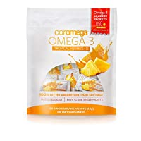 Coromega Omega 3 Fish Oil Supplement, 650mg of Omega-3s with 3X Better Absorption Than Softgels, Tropical Orange Flavor, 120 Single Serve Squeeze Packets