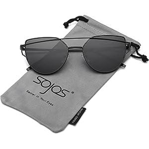 80083f3f996e SOJOS Cat Eye Mirrored Flat Lenses Street Fashion Metal Frame Women  Sunglasses SJ1001