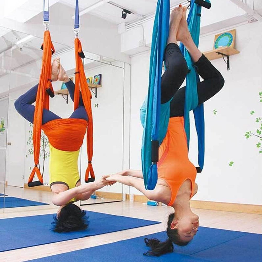 amazon     agptek aerial yoga supplies swing inversion trapeze series yoga class accessories like yoga straps and sling hammock  blue    sports  u0026 outdoors amazon     agptek aerial yoga supplies swing inversion trapeze      rh   amazon