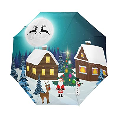 ALAZA Santa Claus Snowman Deer Christmas 3 Folds Auto Open Close Anti-UV Umbrella