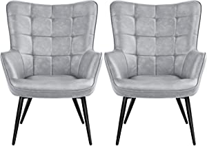 YAHEETECH 2pcs Living Room Chairs Wingback Accent Chair Faux Leather Biscuit Tufted Armchair with Tapered Legs for Leisure Bedroom, Gray