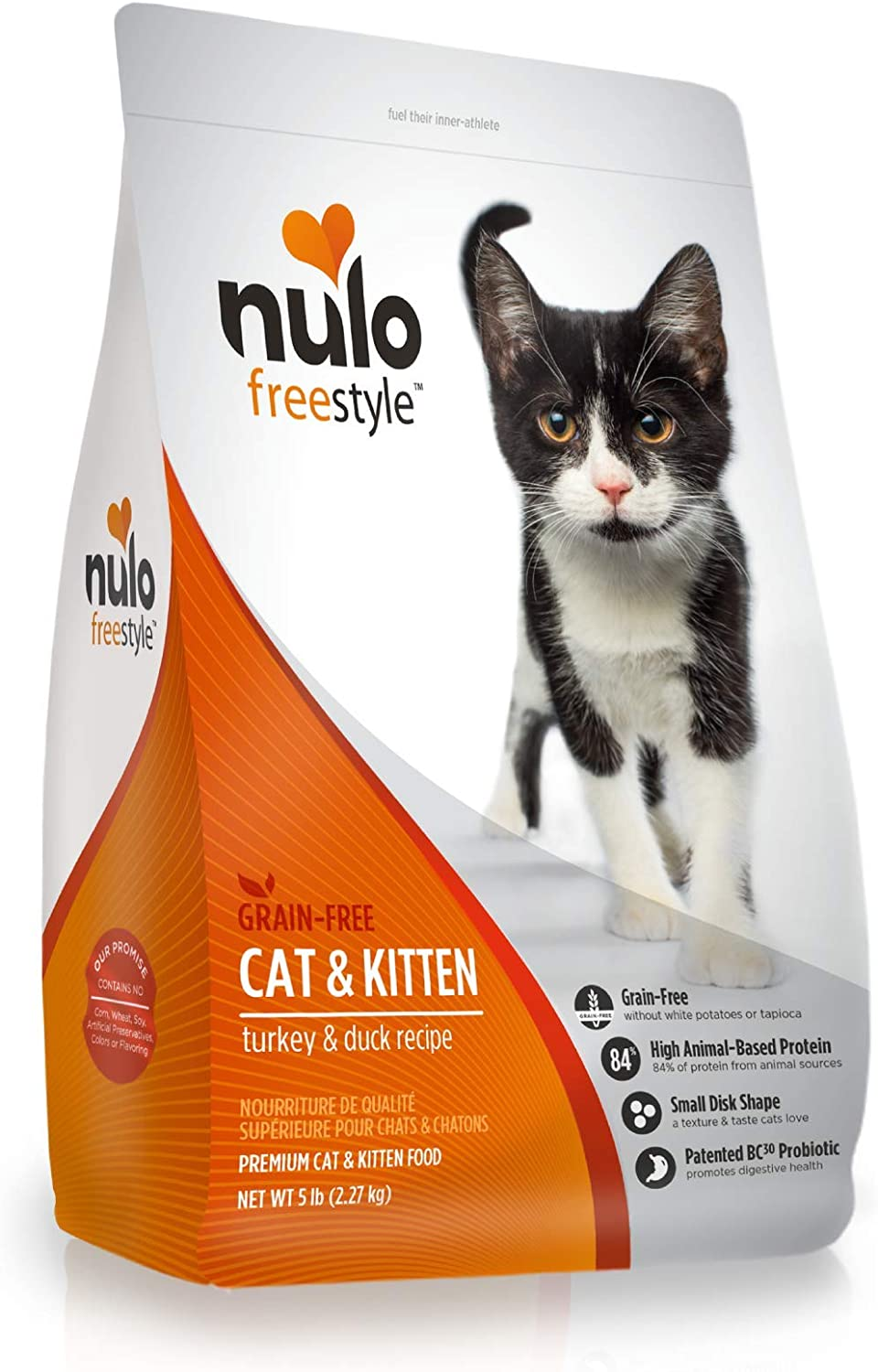 Nulo Adult & Kitten Grain Free Dry Cat Food With Bc30 Probiotic (Turkey, 5Lb Bag)