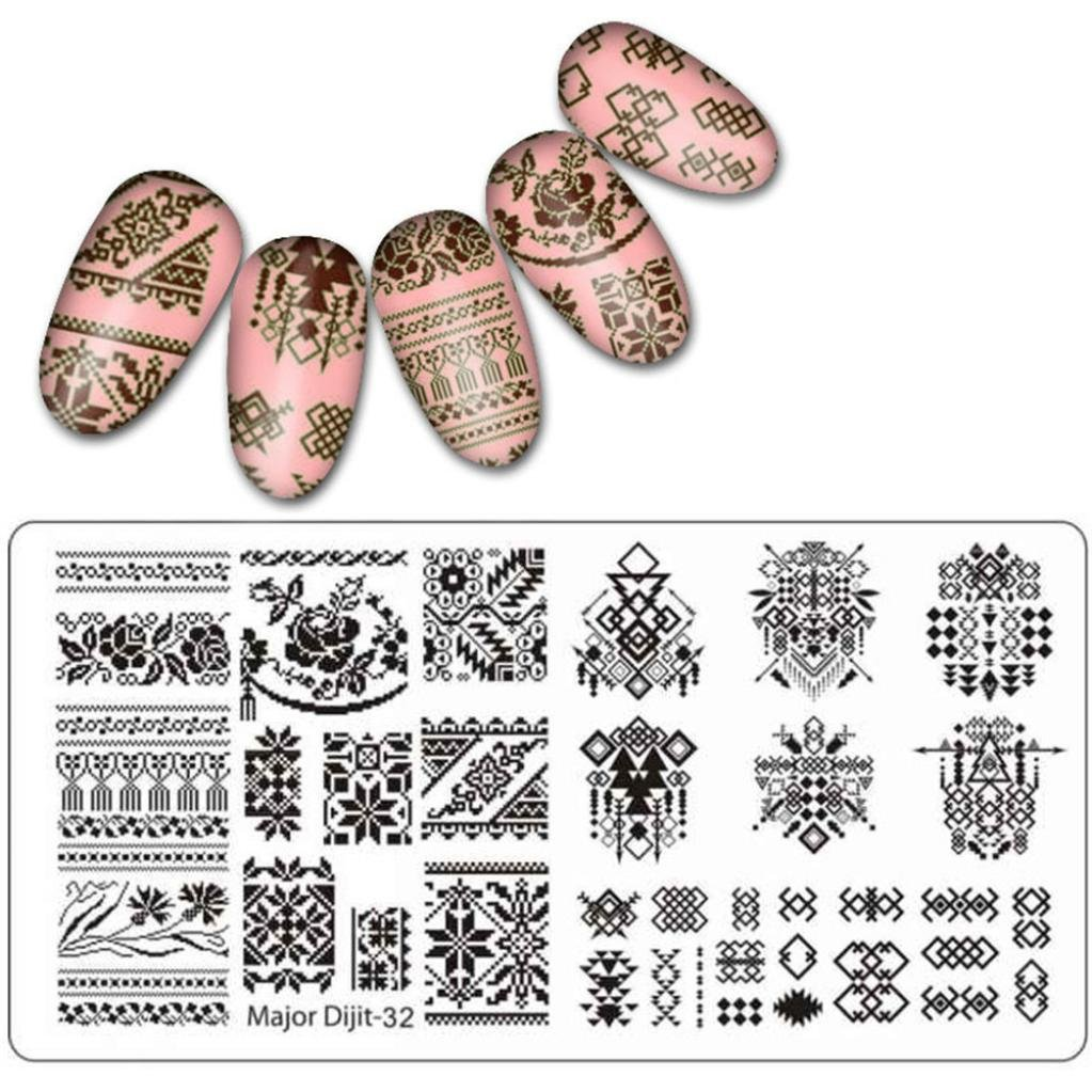 â¤JPJ(TM)❤️ Nail Art Stickers,Girls Nail Stickers,Beauty DIY Nail Art Image Stamp Stamping Plates Manicure Template Nail Stamping Plates Best Gift For Your Nails (B)