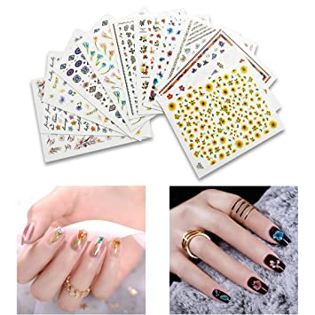 Amazon.com: Fanme 12 Sheets Nail Stickers 3D Flower Nail Art Tattoo ...