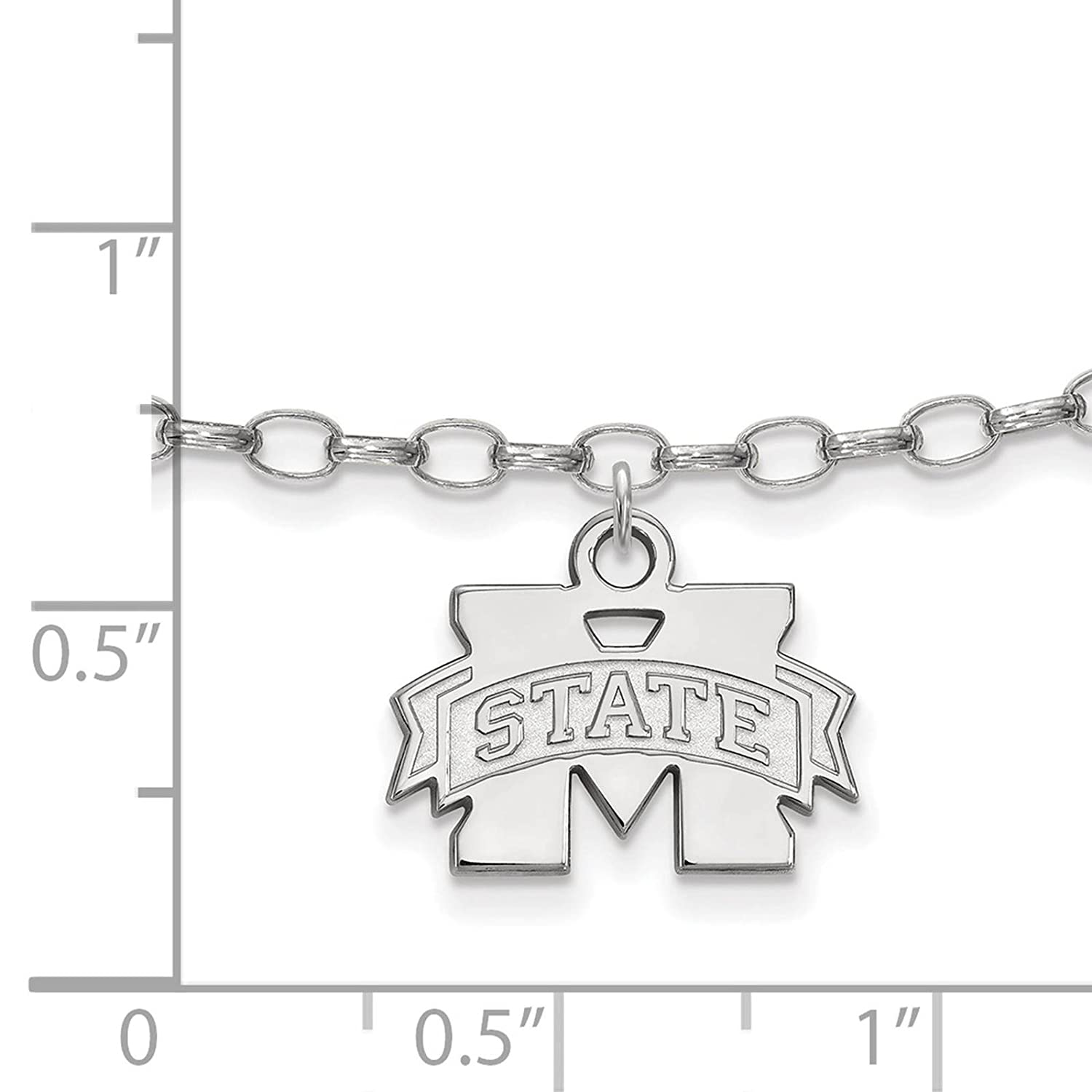 925 Sterling Silver Rhodium-plated Laser-cut Mississippi State University Anklet 9