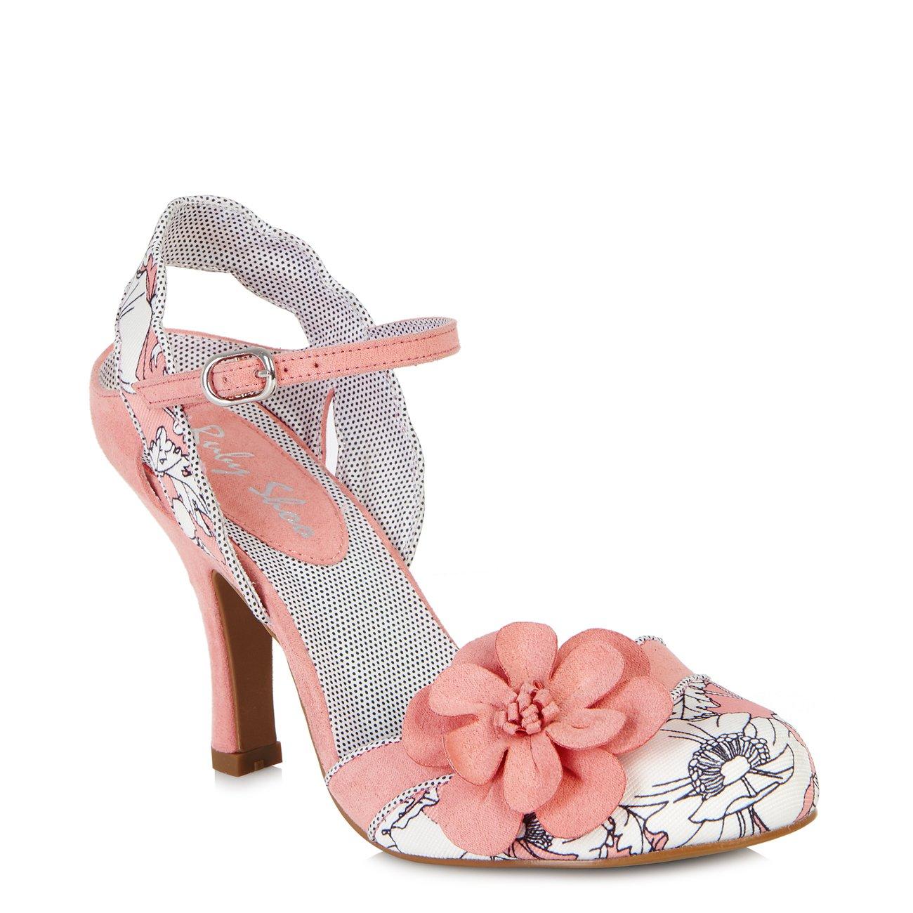 Ruby Shoo Women's Peach Floral Heidi Fabric Slingback Pumps & Rio Bag UK 5 EU 38 by Ruby Shoo (Image #2)