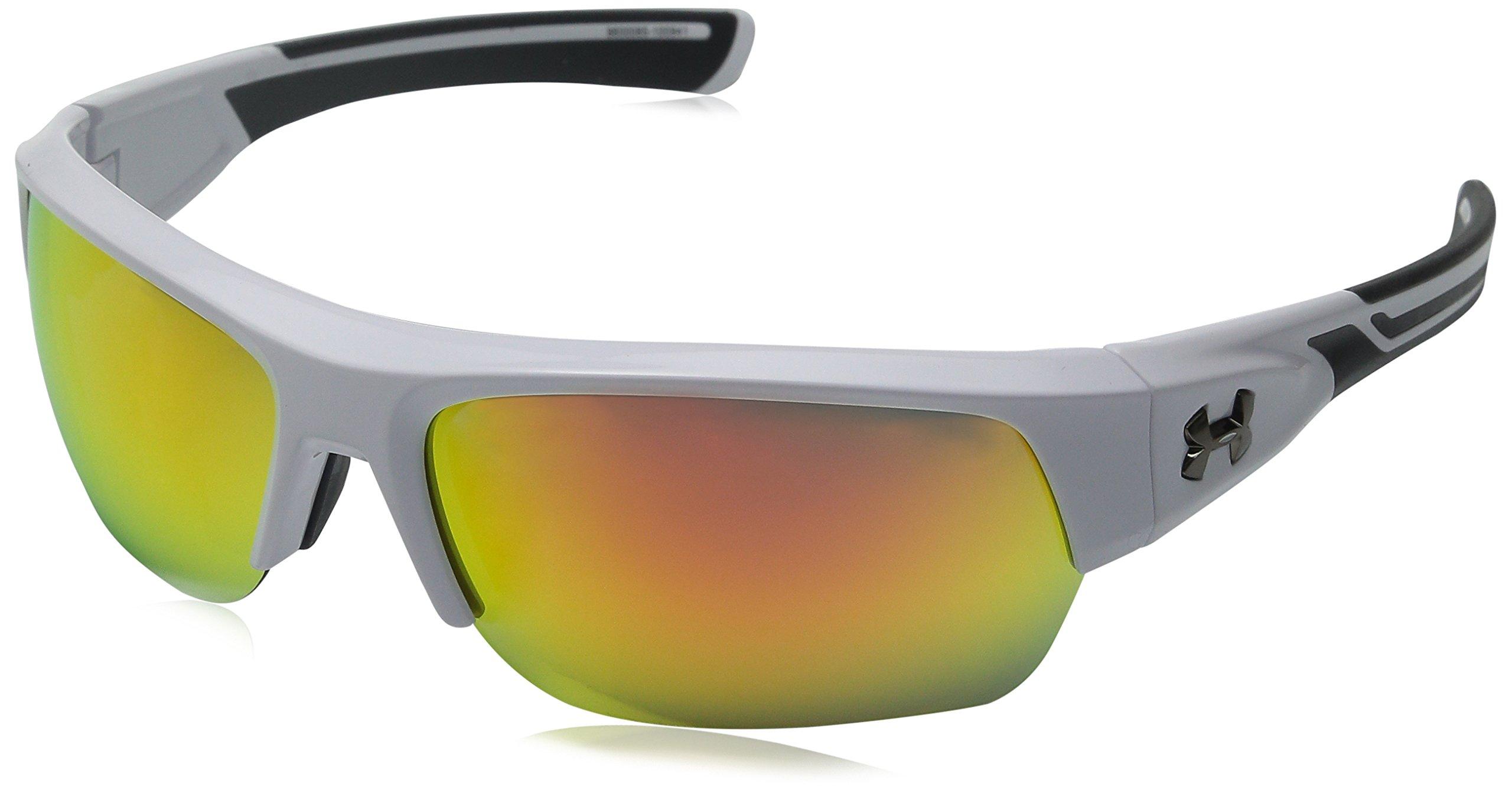 Under Armour Big Shot Multiflection Sunglasses Rectangular, Shiny White/Charcoal Gray, 37 mm