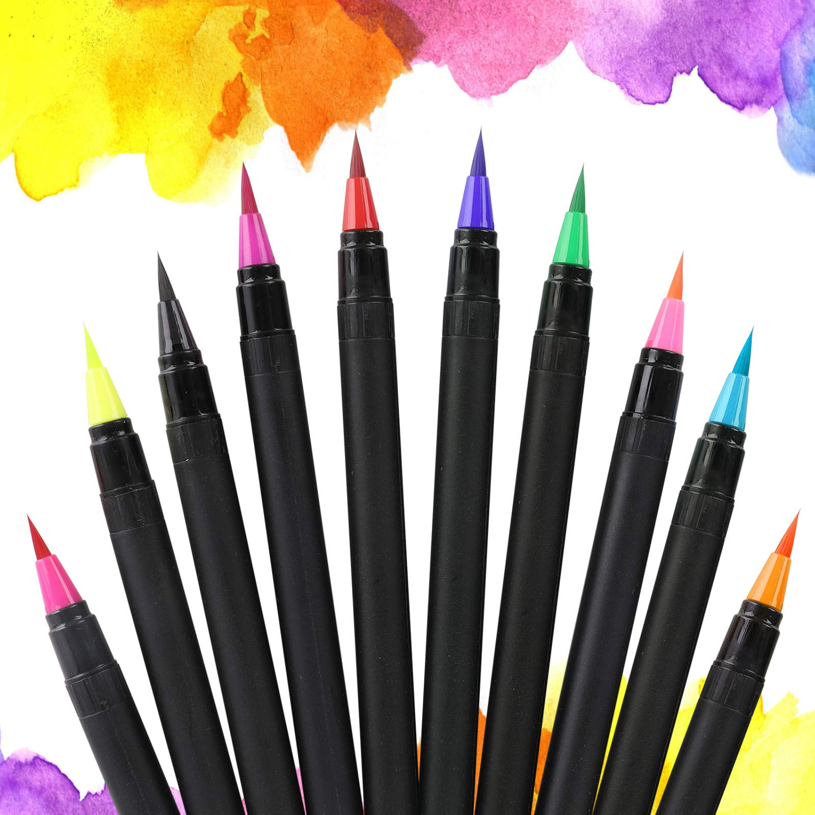 Food Coloring Marker Pens, Nomeca 10Pcs Food Grade Edible Markers Food Writers for Decorating Fondant, Cakes, Cookies, Easter Eggs Painting Drawing Writing - Flexible Brush Tip, 10 Colors