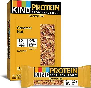 Kind Bar - Barra de Proteína Sin Gluten Caja de Nuez de Caramelo Tostada - 12 Barras