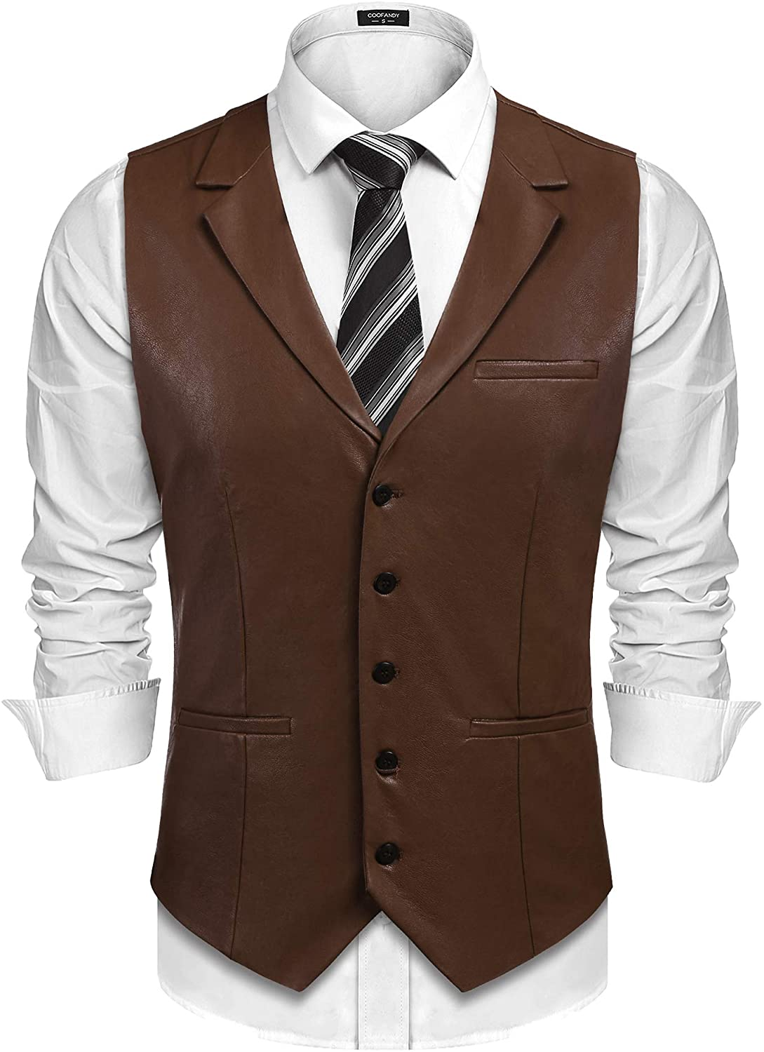 COOFANDY Mens Leather Vest Casual Western Vest Jacket Lightweight V-Neck Suit Vest Waistcoat