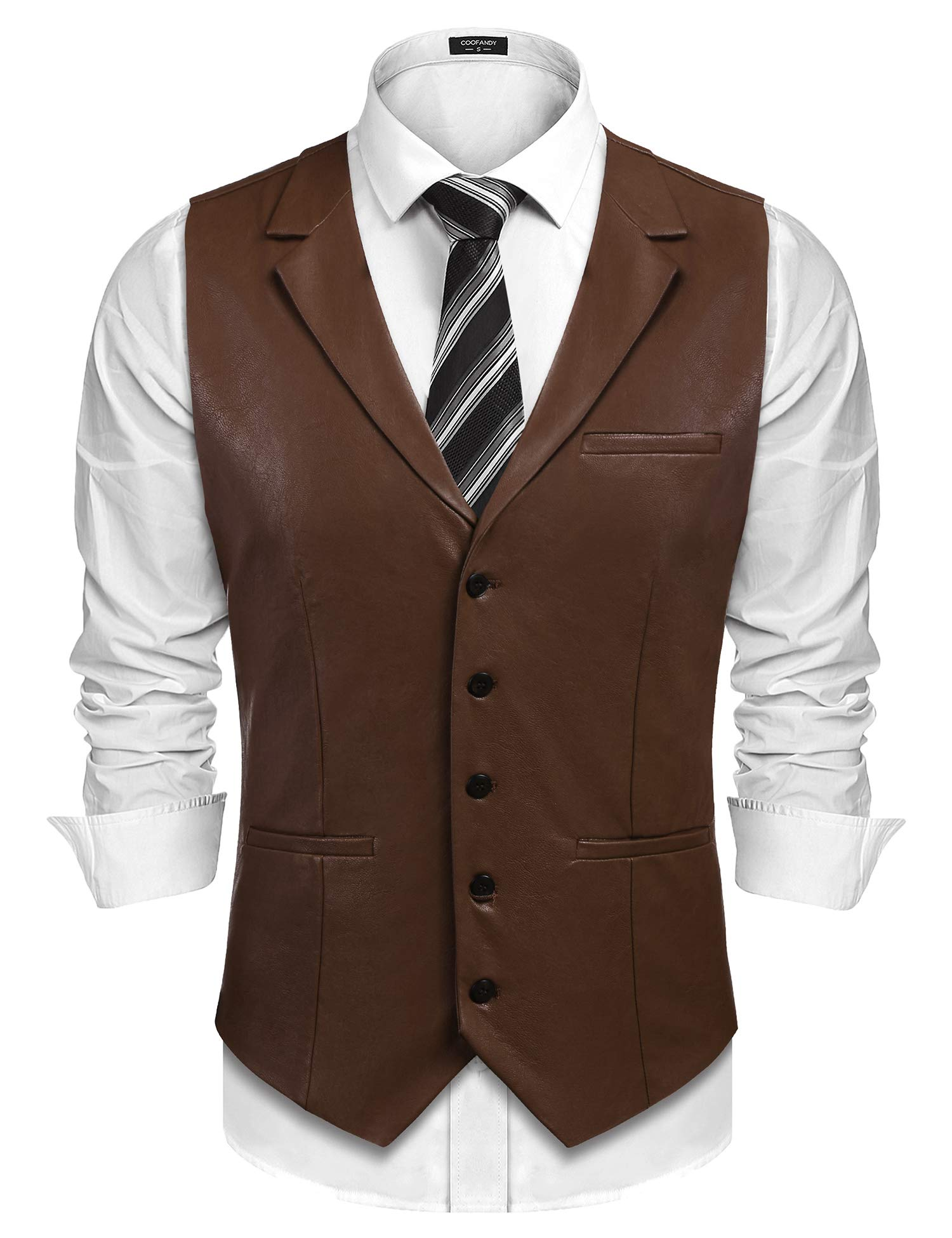 COOFANDY Mens Leather Vest Casual Western Vest Jacket Lightweight V-Neck Suit Vest Waistcoat Dark Brown by COOFANDY