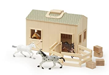 Melissa Doug Fold And Go Wooden Horse Stable Dollhouse With Handle Toy Horses