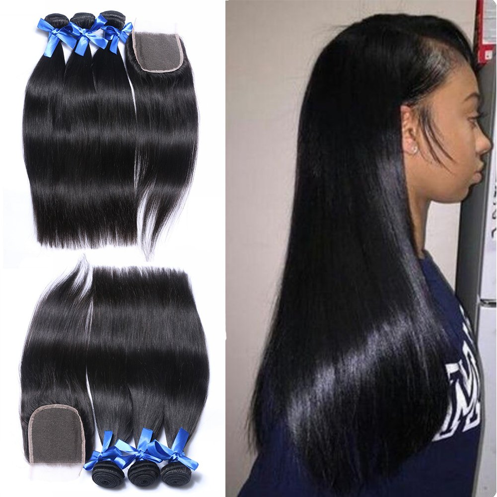 Dream Beauty Hair 3 Bundles With Closure Brazilian Virgin Straight Hair Weave 8A Grade 100% Unprocessed Human Hair Weft Extensions Natural Color(16 16 16 with 12 Inch)