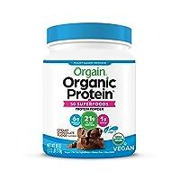 Orgain Organic Protein Powder, Creamy Chocolate Fudge - Vegan, Plant Based, 6g of Fiber, No Dairy, Gluten, Soy or Added Sugar, Non-GMO, 1.12 Lb