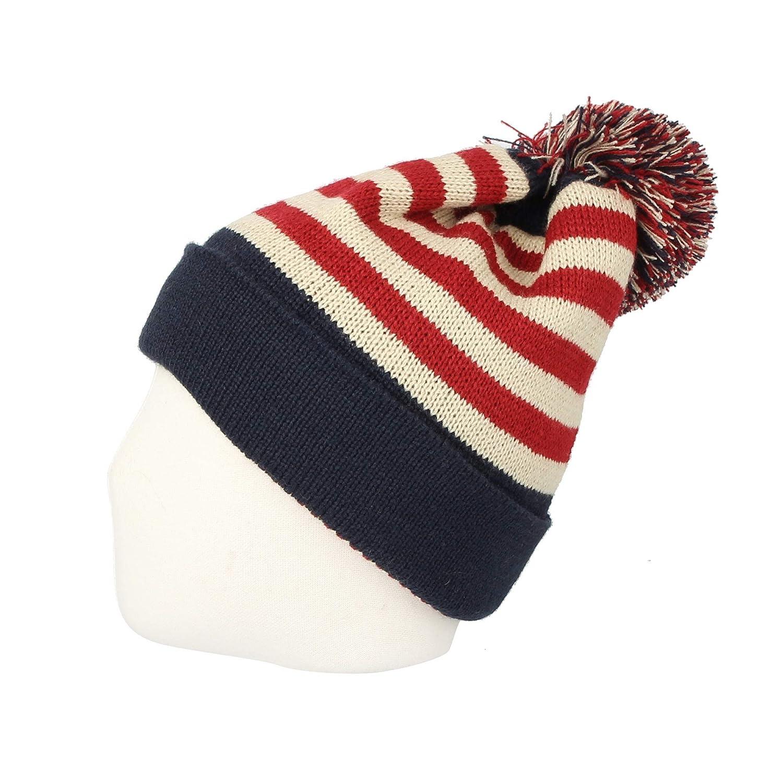 7531e379725 WITHMOONS Knit US Canada Flag Union Jack Pom Beanie Hat JZP0027 (Navy) at  Amazon Women s Clothing store