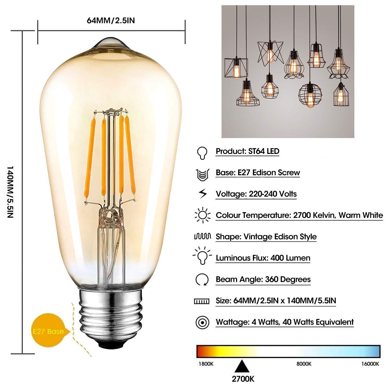 Bombilla Edison Retro Chupete LED E27, 6W (Temperatura De ...