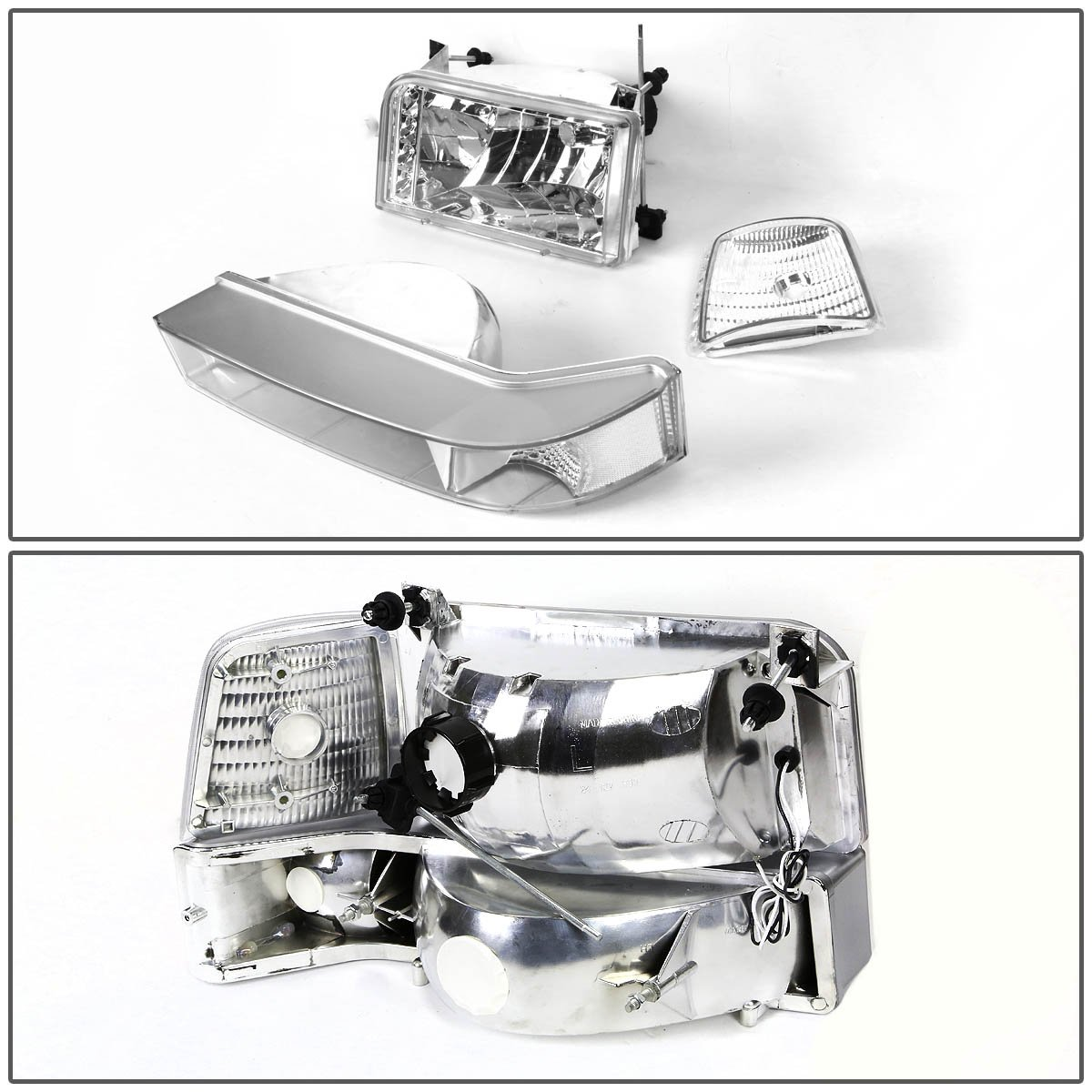 Driver /& Passenger Side DNA Motoring HL-OH-F15092-6P-LED-CH-CL1 Headlight Assembly