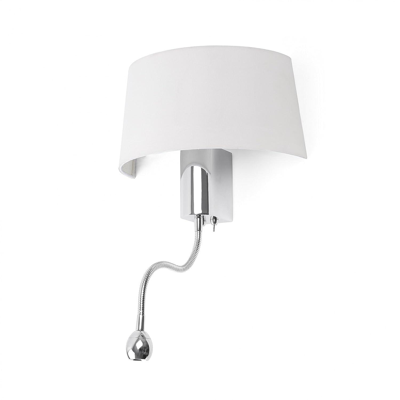 Faro Barcelona Hotel 29941 - Aplique LED, metal y pantalla textil, color blanco [Clase de eficiencia energética A]
