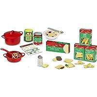 Melissa & Doug Pasta para preparar y servir, juego de imitación, juego de cocina en fieltro, fácil de usar, juego de más de 50 piezas, 25.4 cm alto x 22.86 cm ancho x 7.62 cm largo