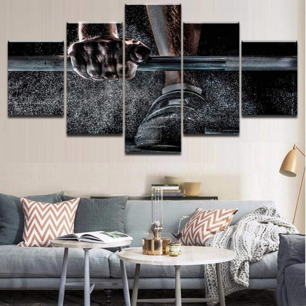 Canvas Prints Art Modern 5 Piece Wall Modern Decor Canvas HD Print Weightlifting Sports Painting Retro Black Poster Wall A