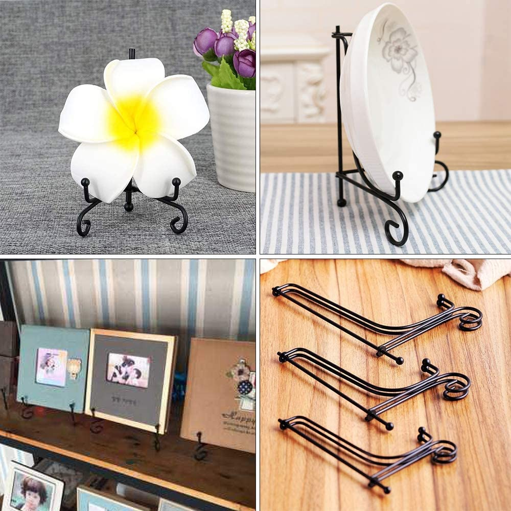 Bunahome Iron Display Stand 4 Inch Iron Easel Plate Display Photo Stands Holder Black Plate Display for Home Decoration