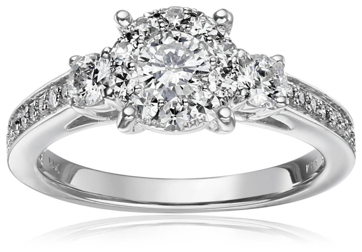 14k White Gold Composite Diamond Engagement Ring (1 cttw, H-I Color, I1-I2 Clarity), Size 7