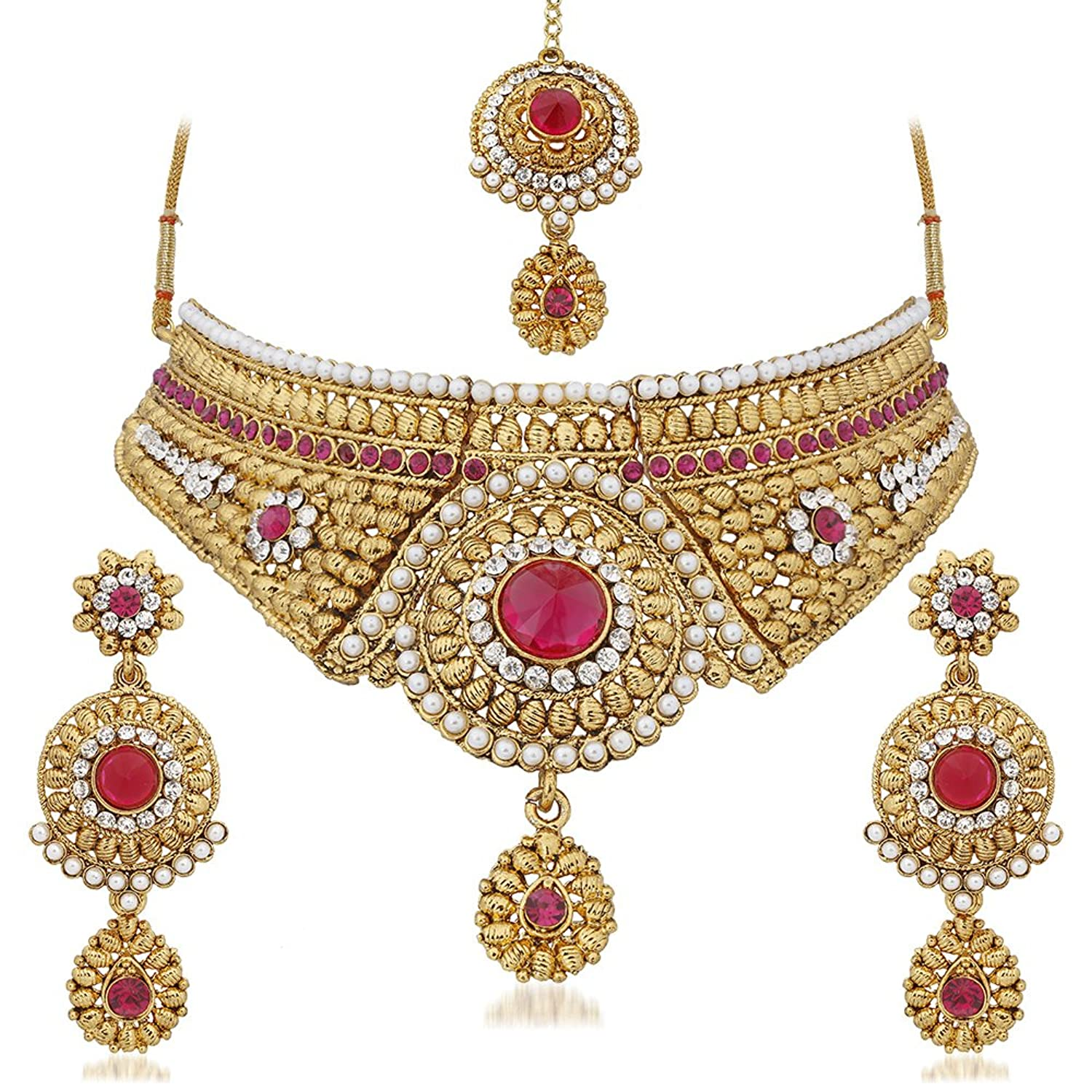meenakari choker product necklace set maroon
