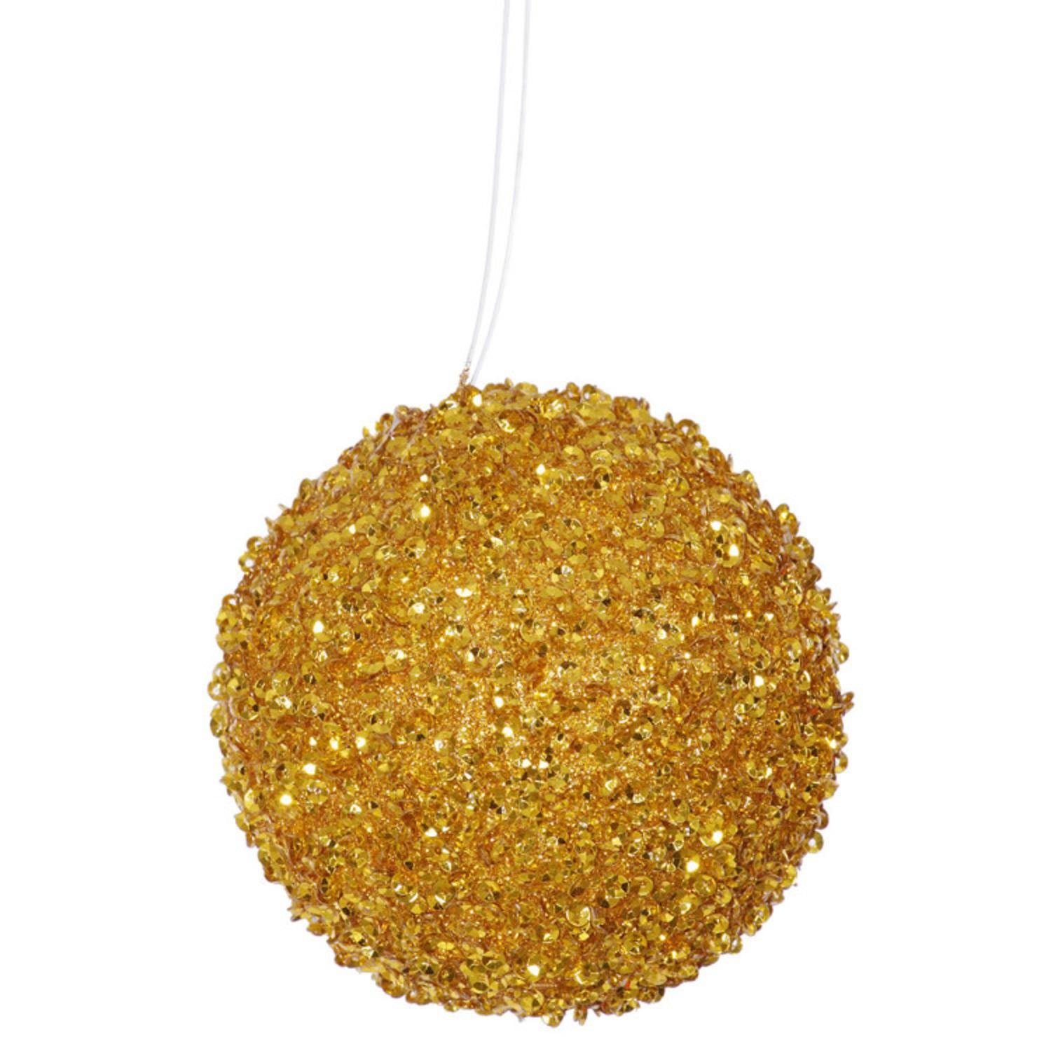 4ct Antique Gold Sequin and Glitter Drenched Christmas Ball Ornaments 4'' (100mm)