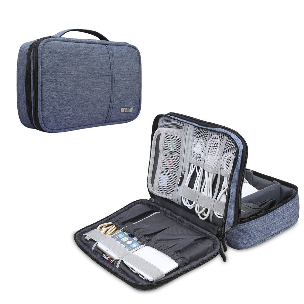 BUBM Electronic Organizer, Double Layer Electronic Bag for Cables, Plugs, External Hard Drive and Other Electronic Accessories (Small/Denim Blue)