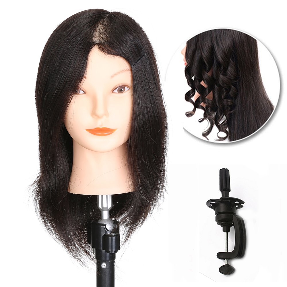 Training Head Hairdressing 100% Real Human Hair Styling Mannequin Manikin Dolls Head (Table Clamp Holder Included) L D Hair
