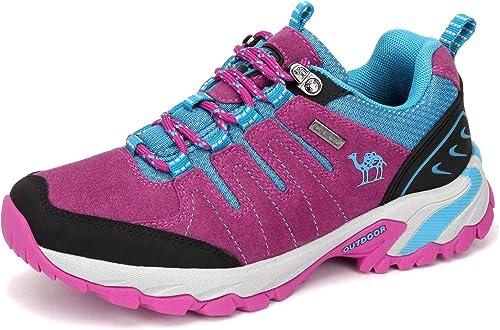 CAMEL CROWN Chaussures de Marche Femmes Chaussures de randonnée Chaussures d'escalade en Daim Chaussures Basses Glissement sur Trekking Chaussures de