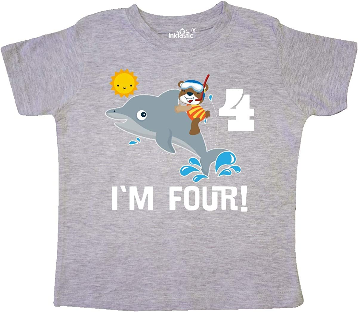 inktastic 4th Birthday Party Dolphin 4 Year Old Toddler T-Shirt