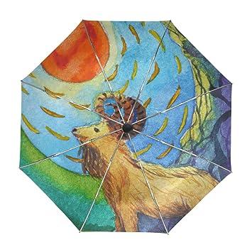 Amazon.com: ALAZA Happy cabra sol acuarela paraguas de viaje ...