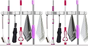 "VOSIGREEN Broom & Mop Holder, Wall Mount Organizer Hanger for Rakes, Utensils, Tools-3 Clamps, 4 Hooks-17"" Self Adhesive or Drillable Installation-For Kitchen, Garage, Garden, Office, Closet, 2 Pack"