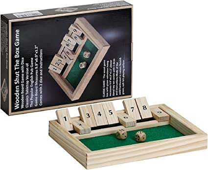 Classic Shut The Box Wooden Board Game Family Kids Dice Pub Toy Christmas Gift