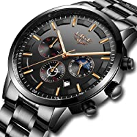LIGE Mens Watches Waterproof Stainless Steel Sport Analogue Quartz Watch Men Business Casual Chronograph Date Moon Phase Military Black Wrist Watch