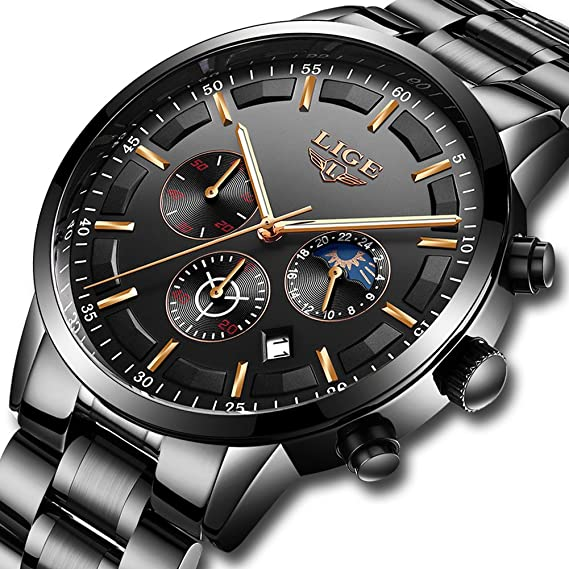 LIGE Relojes Hombre Impermeable Deporte Cuarzo Analógico Reloj Hombre Moda  Casual Cronógrafo Negro Acero Inoxidable Reloj de Pulsera  Amazon.es   Relojes 3bb9253c279b