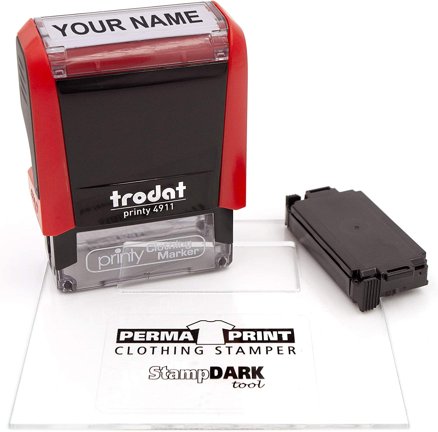 Trodat 4911 Clothing Stamp with StampDARK Tool and Extra Replacement pad- Customize Online