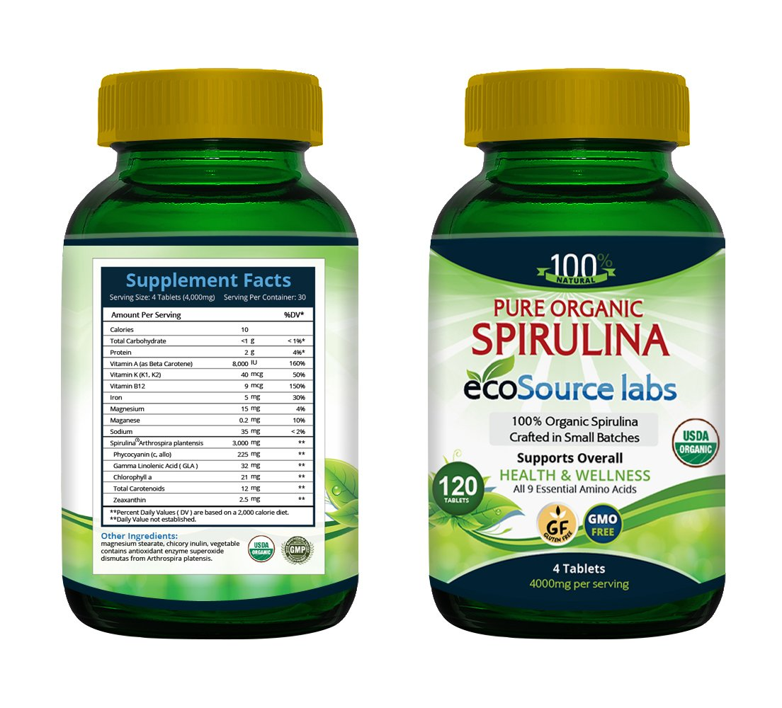 Organic Spirulina 120 Tablets 1000mg by EcoSource Labs-Farmed and Crafted in Small Batches-Bringing back the 70ies with every Tablet. (6)